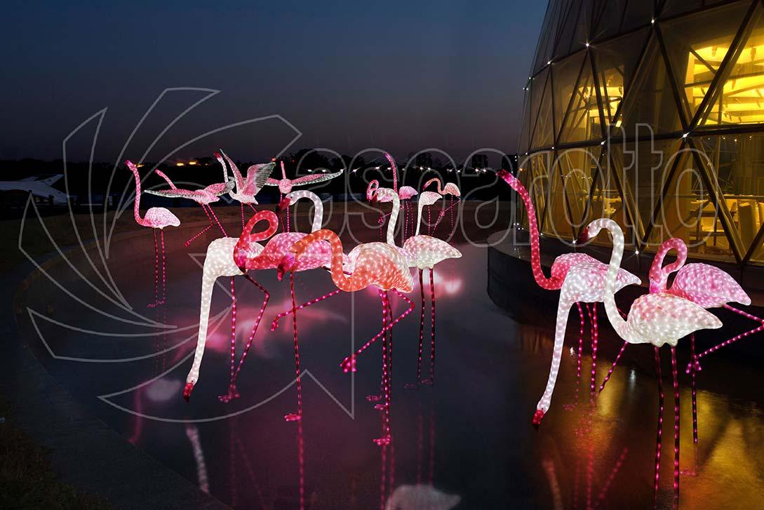 Fenicotteri rosa luminosi a led